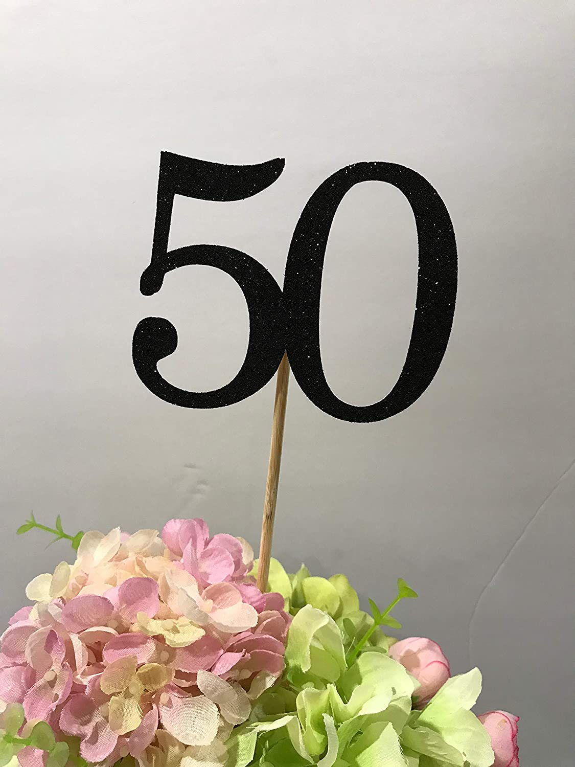 50th Birthday Centerpiece Sticks Glitter Decoration Table Decorations Age 3ct Black 50 Gold