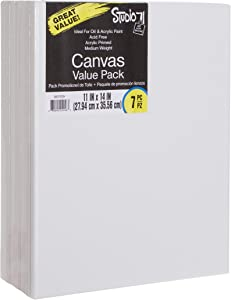 Darice Studio 71, 7 Piece, 11 by 14 inch, Stretched Canvas Value Pack, Pack of 7, White