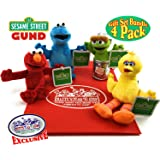 "Sesame Street Plush Beanbag Pals (5""-7.5"") Elmo, Cookie Monster, Big Bird & Oscar the Grouch Gift Set Bundle with Exclusive ""Matty's Toy Stop"" Storage Bag - 4 Pack"