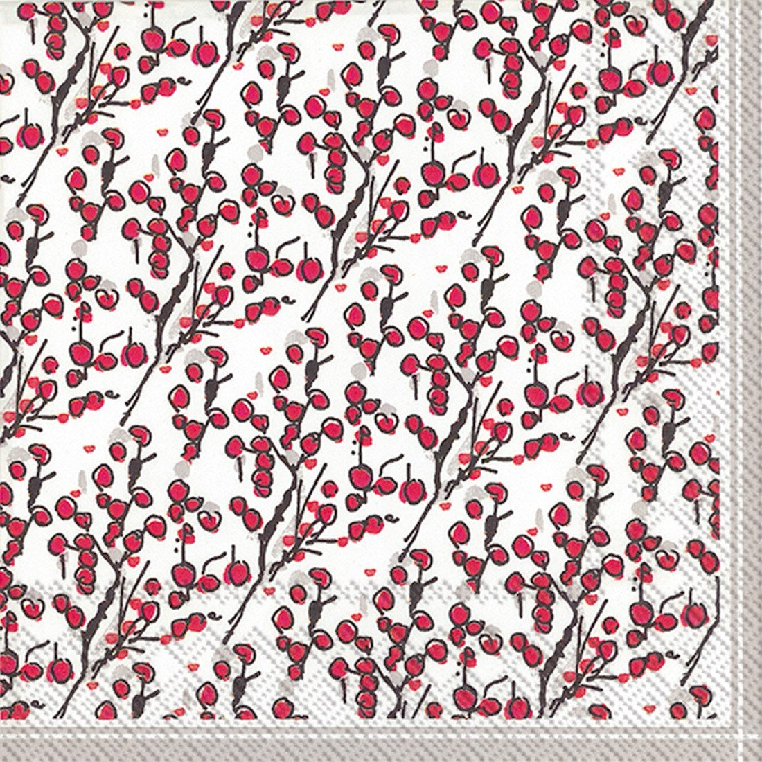 Ideal Home Range 20-Count Rosanne Beck Berry Branches Paper Luncheon Napkins, Multicolored