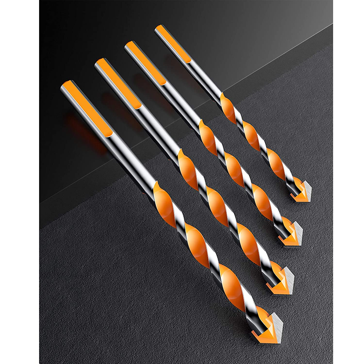Glass Concrete Brick 6, 6, 8, 10, 12mm Plastic and Wood 5 Pcs Set Ultimate Punching Drill Bits Set with Tungsten Carbide Tip for Tile