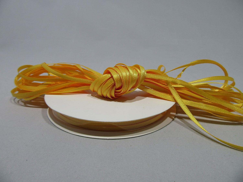 Beautiful Ribbon 1 Rouleau 3mm Ruban de Satin x 50 m/ètres tag/ète Jaune fonc/é Double Face 3 mm