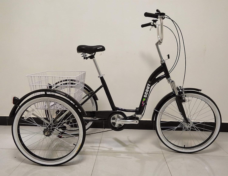 Quality Triciclo para Adultos, Bicicleta de Tres Ruedas, Cuadro Plegable, Engranajes Shimano de 6 velocidades, Cuadro de aleación, suspensión Delantera