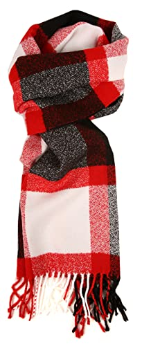 Love Lakeside-Women's Cashmere Feel Winter Plaid Scarf Red, White & Black