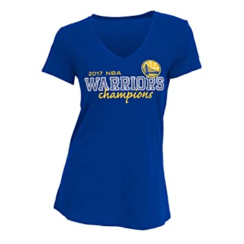 Golden State Warriors 2017 NBA Finals Champions mujeres cuello en V Azul Camiseta, Azul