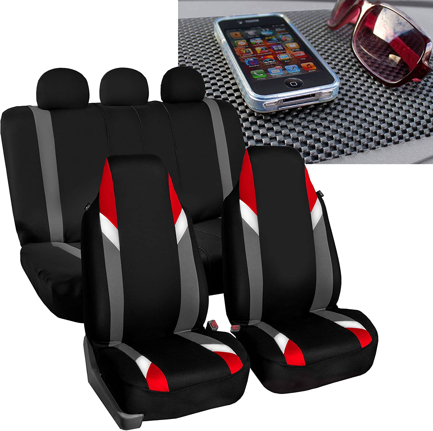 FH Group FB133115 Full Set Premium Modernistic Seat Covers Red/Black with FH1002 Non-Slip Dash Pad- Fit Most Car, Truck, SUV, or Van