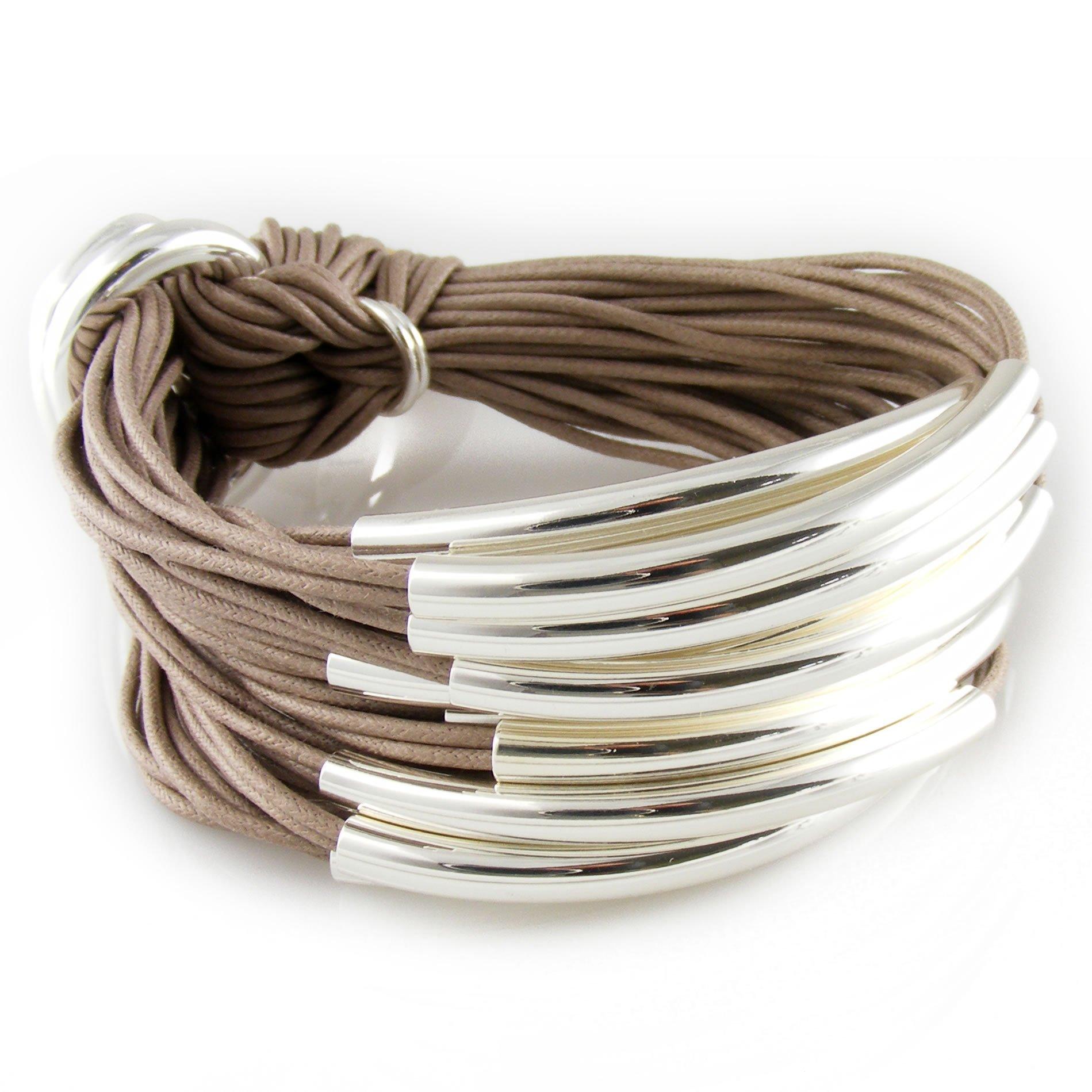 Gillian Julius Multi Tube Bracelet in Silver and Taupe