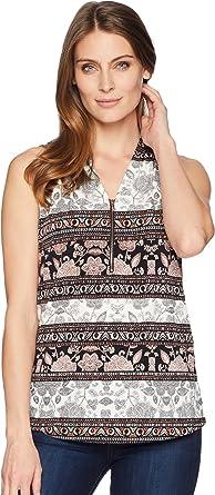 e0aa652f0c5e67 Ivanka Trump Women's Sleeveless Printed Top with Open Hem Black/Blush  X-Small
