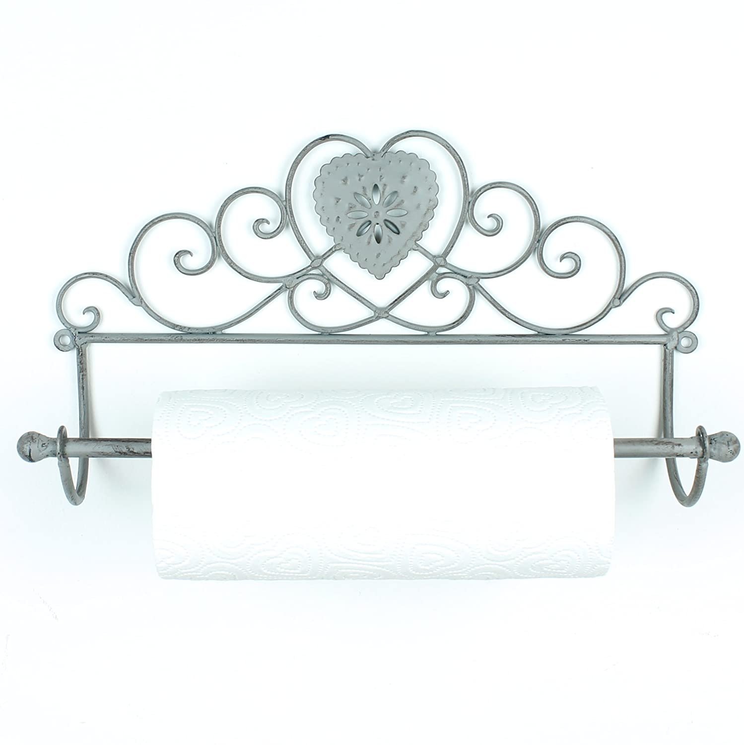 Boutique Heart Kitchen Roll Holder (vintage grey) Chaise Longue Boutique