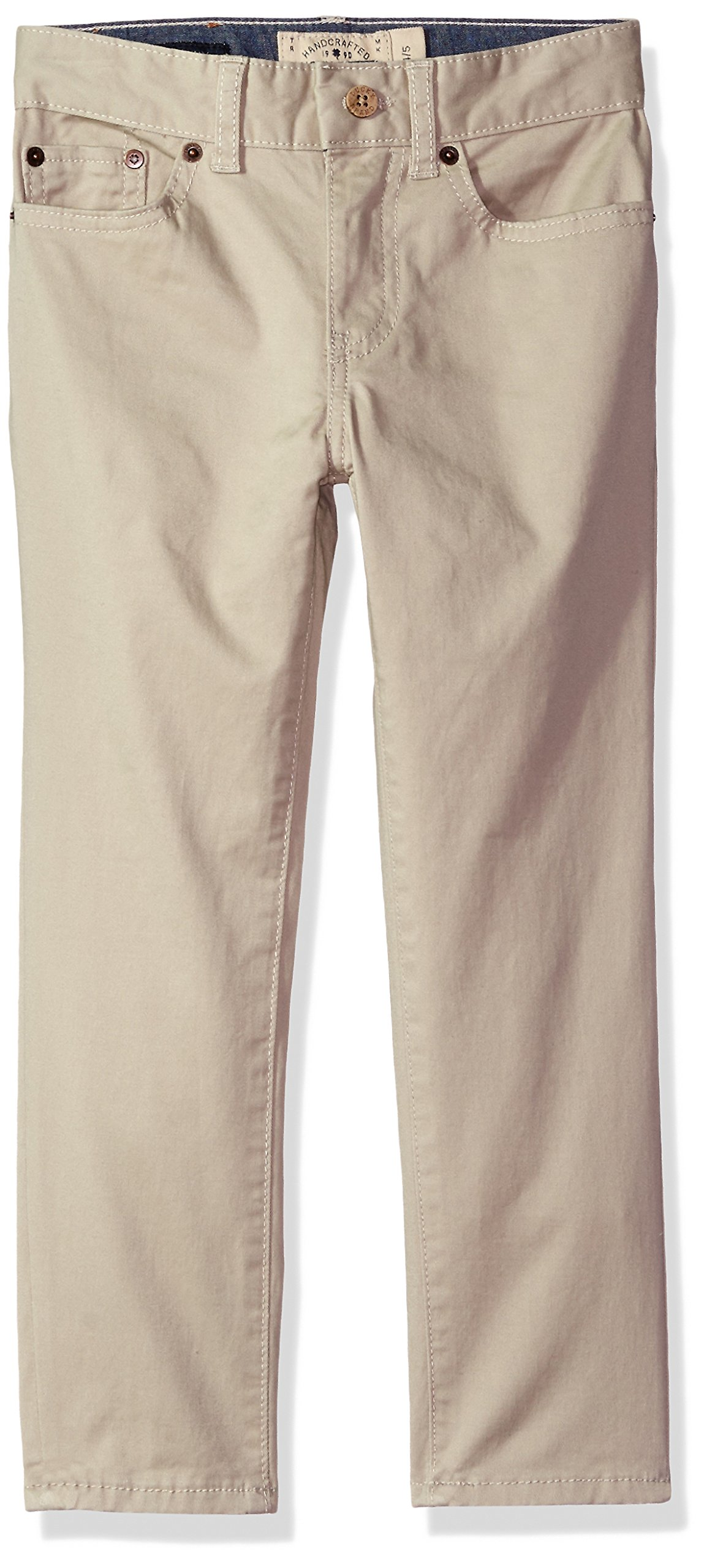 Lucky Brand Boys' Big 5 Pocket Stretch Twill Pant, Light Stone, 10