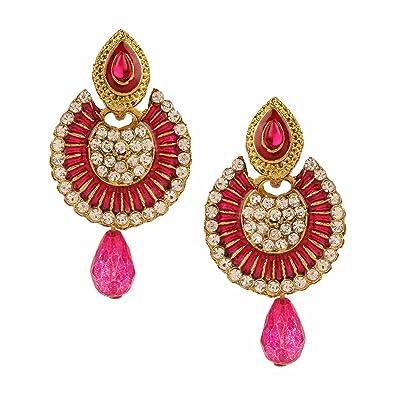 0526be5ba Efulgenz Fashion Jewellery Traditional Gold plated Chandbali Pearl Kundan  Jhumka Jhumki Hangings Dangle Drop Earrings Wedding
