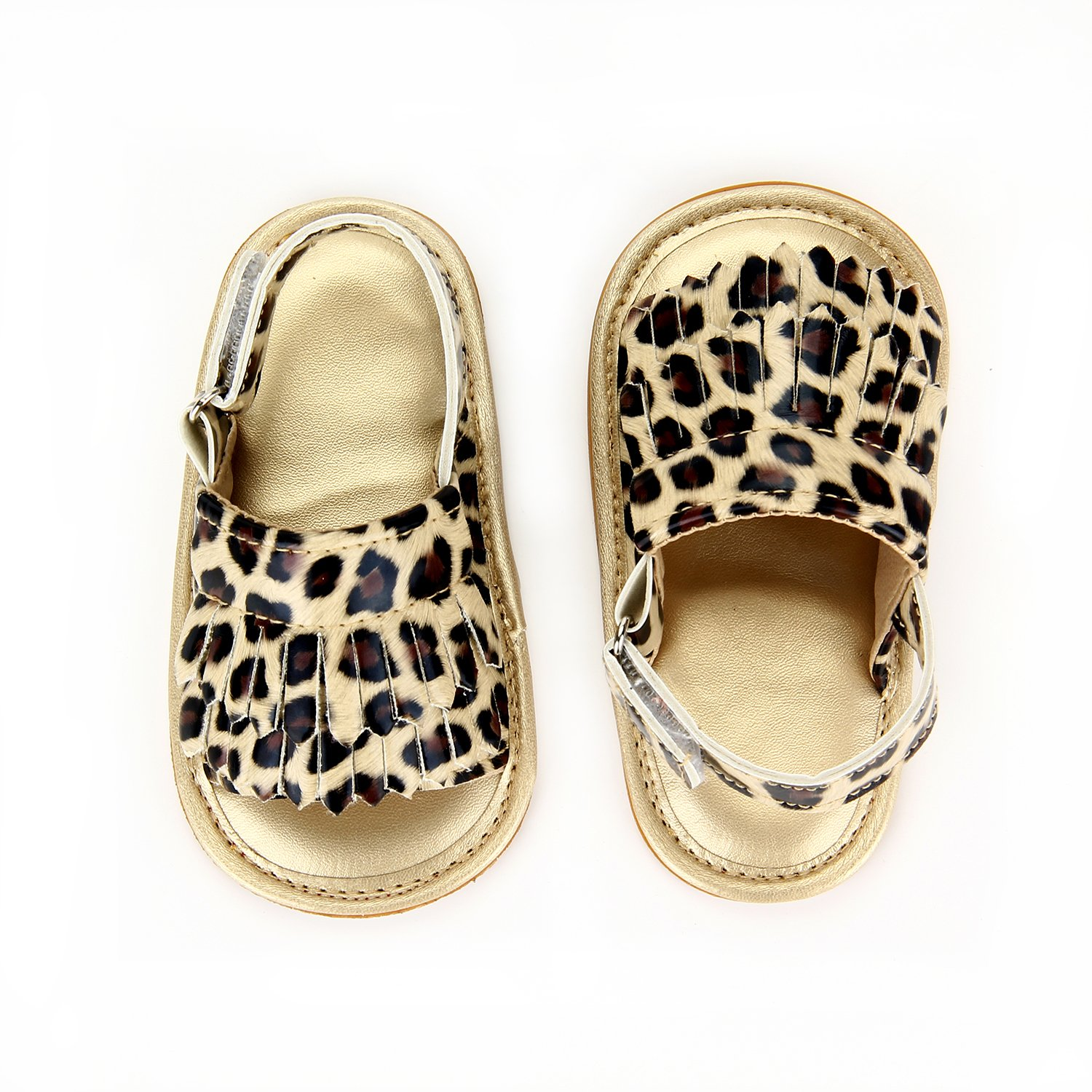 Baby Sandal with PU Leather Tassels Non-Slip Summer Toddler Slipper 0 6 12 18 24Months (12cm Sole(6-12 Months), Gold Leopad)