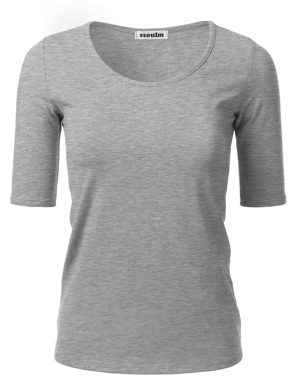 SSOULM Women's 1/2 Sleeve Crewneck Cotton Basic Slim Fit T-Shirt Top HEATHERGREY M