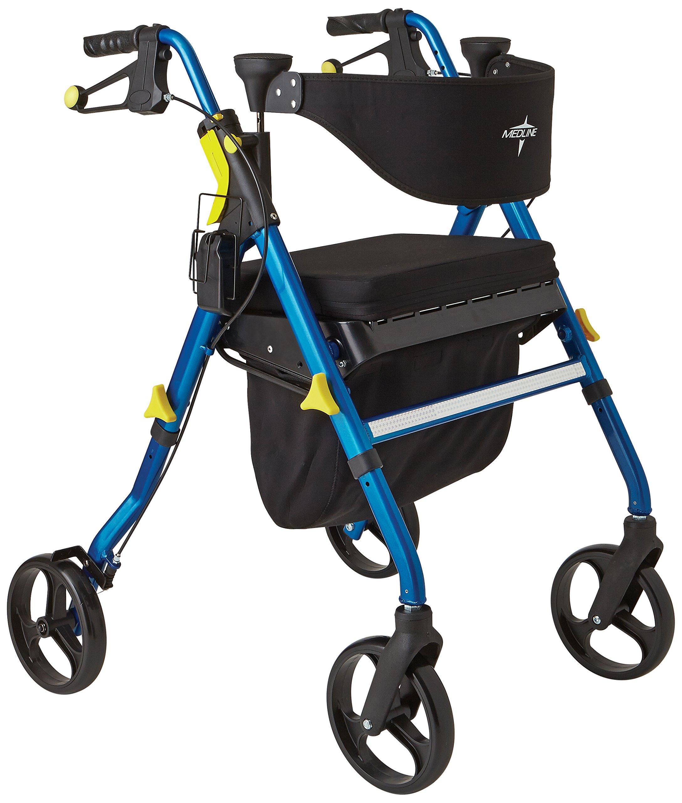 Medline Premium Empower Folding Rollator Walker with 8'' Wheels, Blue