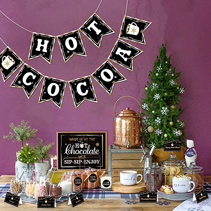 Kids Christmas Photos Hot Cocoa Party Holiday Banner Burlap Christmas Decor Winter Snowflake Decor Cutest Hot Cocoa Stand Banner