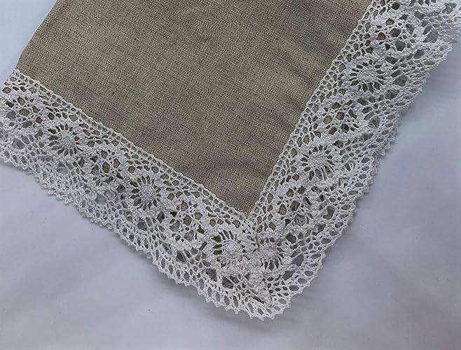 Mantel de lino vintage, mantel, tapete decorado con encaje floral 38 x 38 cm