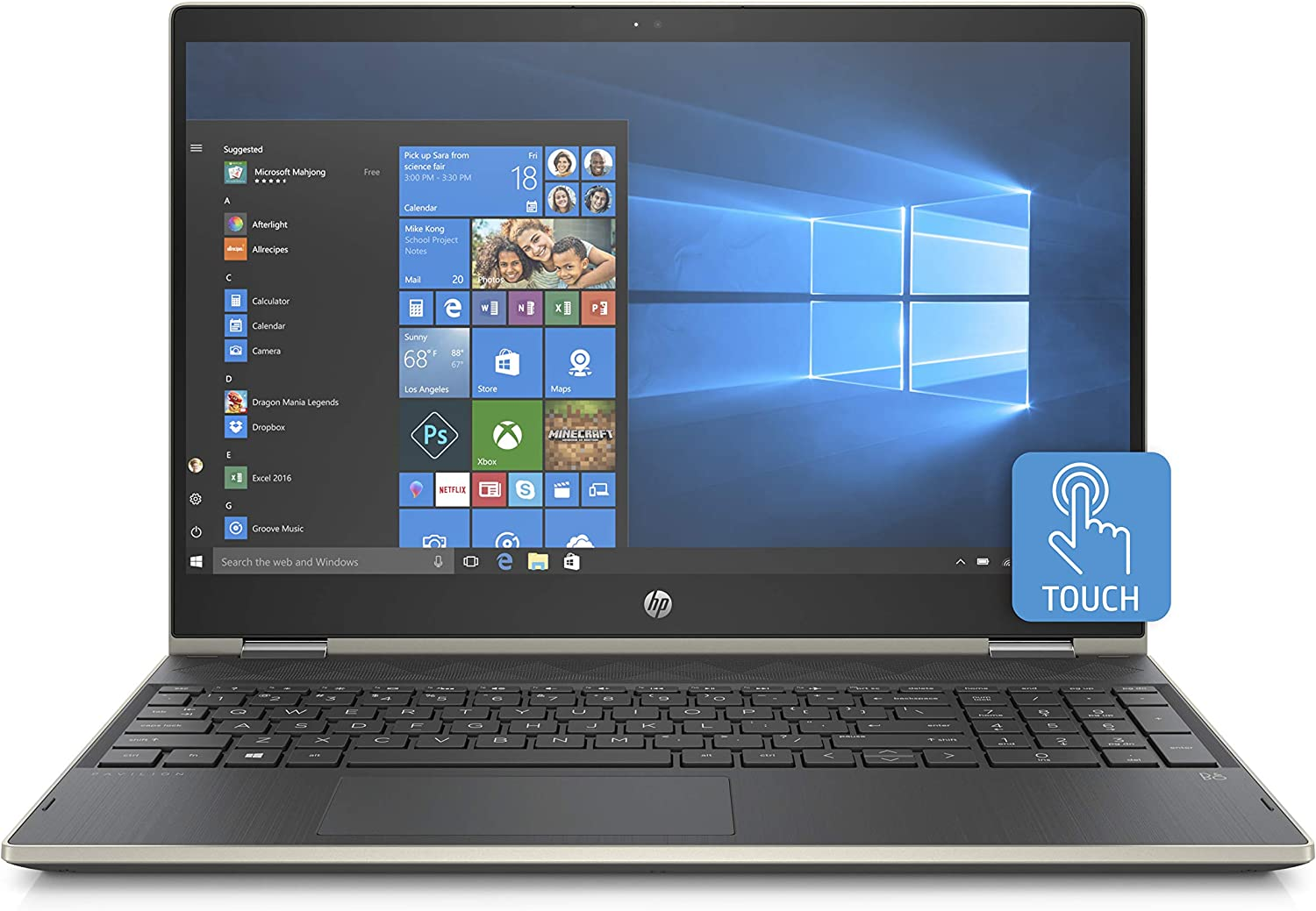 HP x360 High Performance Business 15.6in FHD IPS Touchscreen Laptop, Intel Core i5-8250U, 4GB RAM, 1TB Hard Drive, Intel UHD 620, WiFi, Bluetooth, Windows 10 Pale-Gold (Renewed)