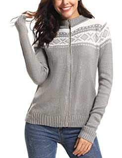 iClosam Women Sweater Pullover Open Front Cardigan Zip Knit Ugly Sweater Top 07e23988b