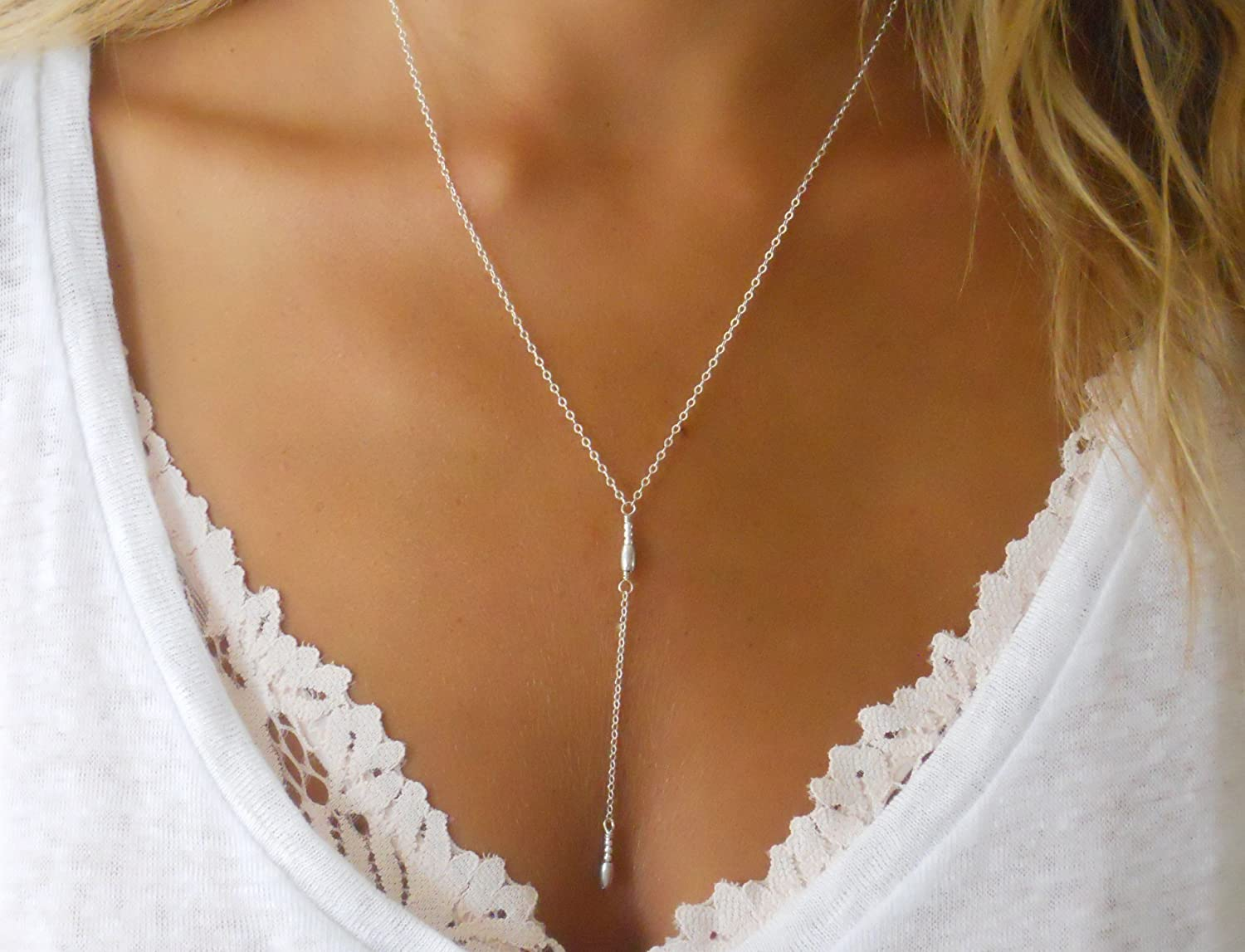 Handmade Designer Delicate Everyday Layering Sterling Silver Y Lariat Necklace