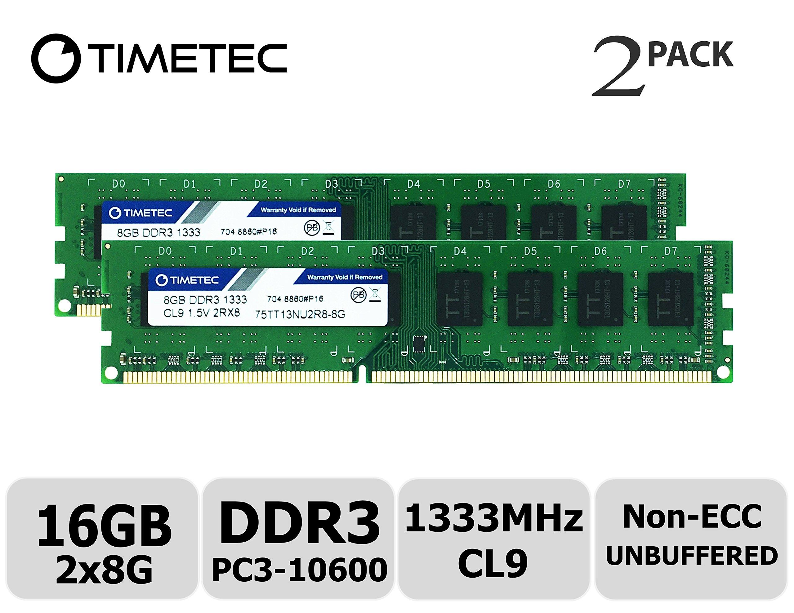 Timetec Hynix IC 16GB Kit (2x8GB) DDR3 1333MHz PC3-10600 Unbuffered Non-ECC 1.5V CL9 2Rx8 Dual Rank 240 Pin UDIMM Desktop Memory Ram Module Upgrade (16GB Kit (2x8GB))