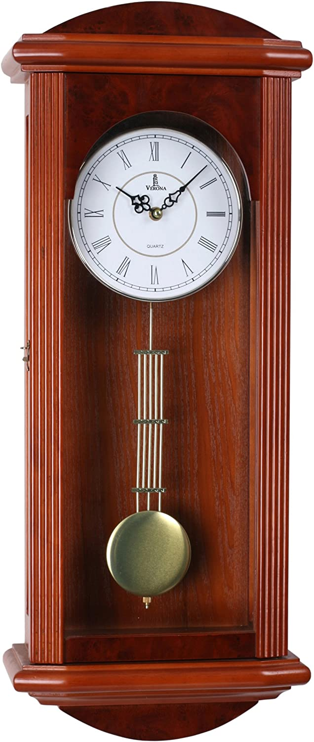Pendulum Wall Clock, Silent Decorative Wood Clock with Swinging Pendulum, Battery Operated, Large Red Wooden Design, for Living Room, Kitchen, Office & Home Décor, 26.75 x 11.5 inches