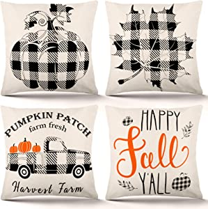 YGEOMER Fall Pillow Covers 18×18 Inch Set of 4 Fall Decor for Home Autumn Farmhouse Buffalo Plaid Pillow Covers Holiday Rustic Linen Pillow Case for Sofa Couch Thanksgiving Throw Pillow Covers