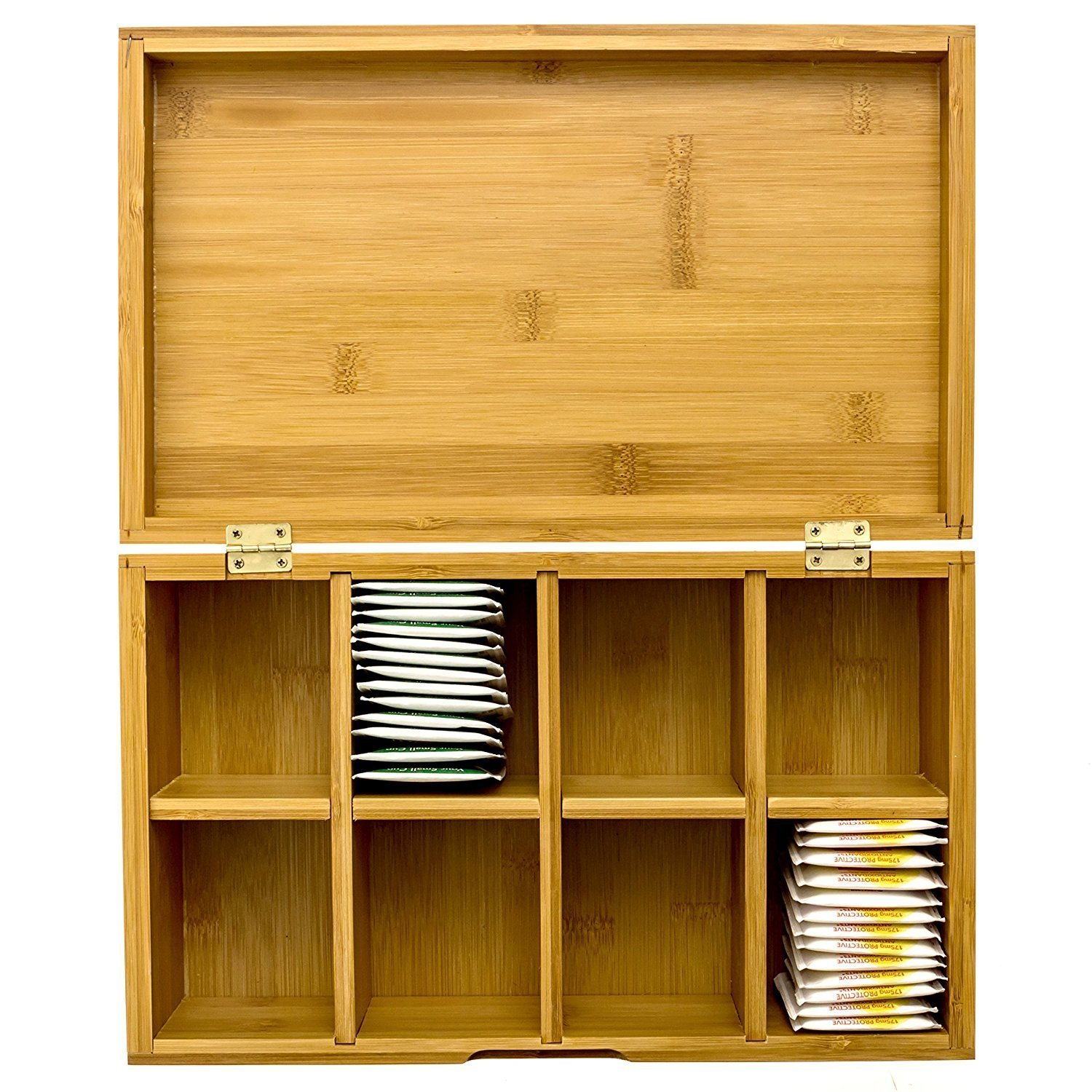 Intriom Bamboo Arts and Craft Storage,Sewing Storage, Tea Box, Jewelry Box, Organizer, With Lid Cover 8 Compartment Multipurpose Storage