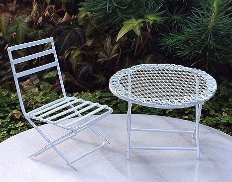 Etonnant Magic Miniature Dollhouse Fairy Garden Furniture Mini White Metal Table U0026  Chair Set Mini Garden Scene