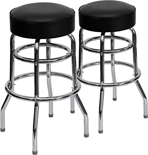Flash Furniture 2 Pack Double Ring Chrome Barstool