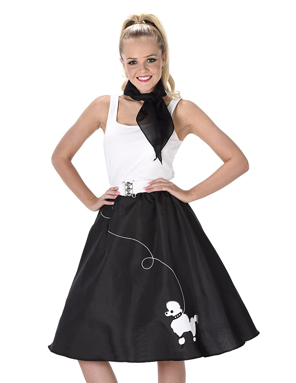 f385de2b431b Black Poodle Skirt Ladies Fancy Dress 50s 60s Rock n Roll Womens Adults  Costume (Small UK 8-10): Amazon.co.uk: Toys & Games