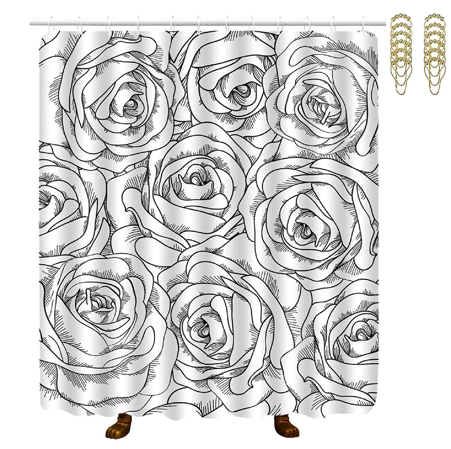 COVASA Decorative Water Repellant Shower Curtain 72x72 Inches Comes with 12 Hooks (Black White Rose)