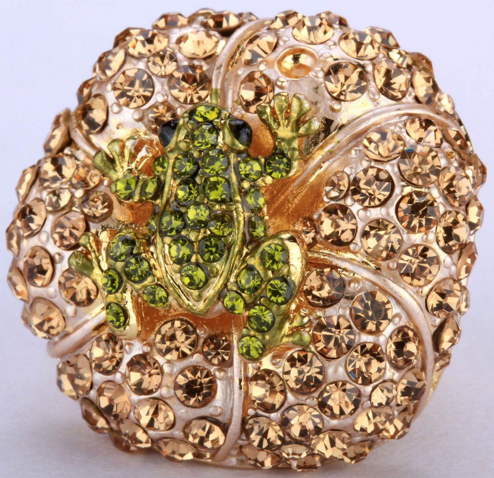 A.Yupha Frog On Pad Stretch Ring Crystal Rhinestone Animal Bling jewelry Fashion RA57 (Gold)