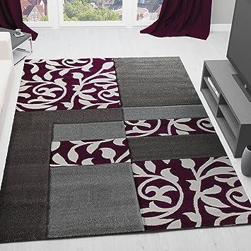 VIMODA Moderner Wohnzimmer Teppich Design Mit Blumenmuster Kariert  Konturenschnitt In Den Farben Braun Grau Oder Lila