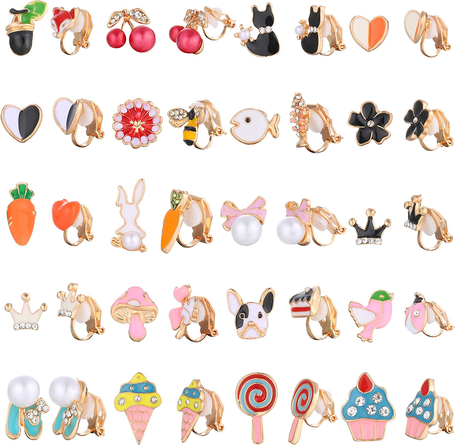 Hanpabum 20 Pairs Painless Clip On Earrings for Teen Girl Women Lollipop Ice Cream Multiple Animals Cute Pattern