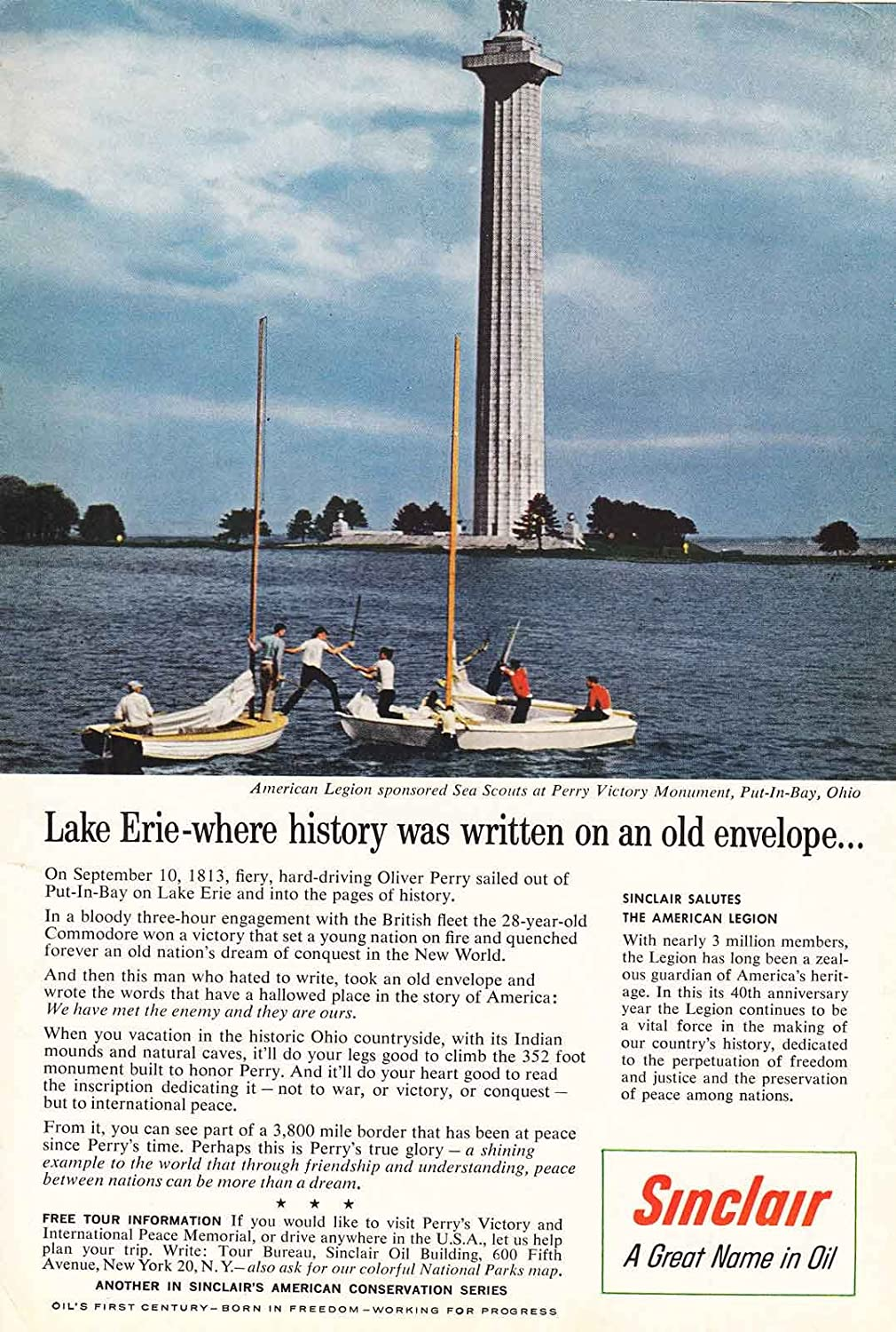 Amazon.com: 1959 Sinclair: Lake Erie, Perry Victory Monument ...