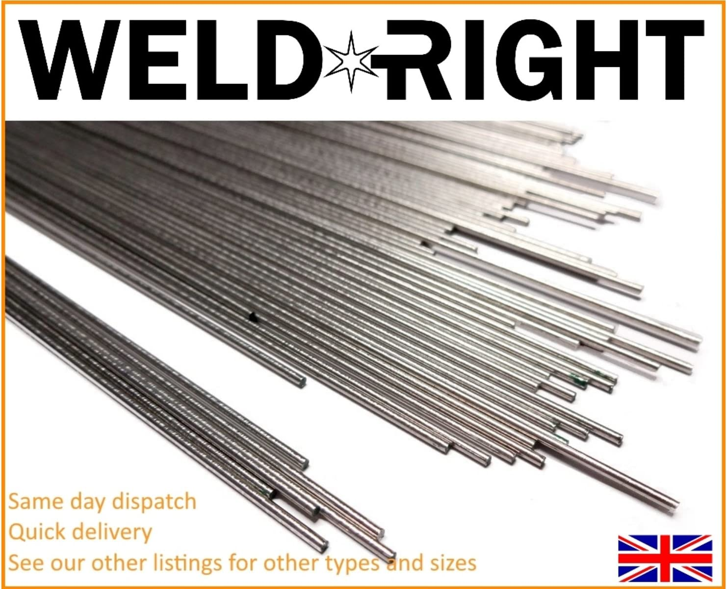 Weld Right 50X Aluminium Alu 4043 Tig Filler Tiges De Soudure 1.6mm