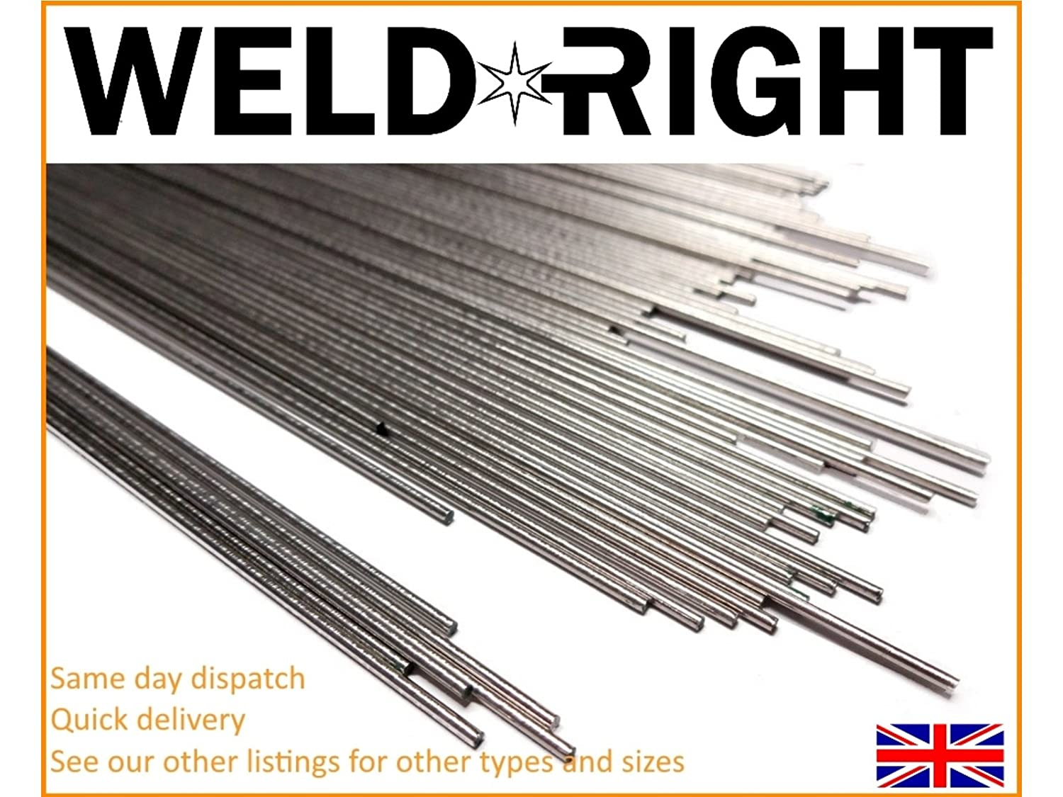 Weldrite 50x Stainless Steel ER308L SS Tig Filler Welding Rods - 1.0mm