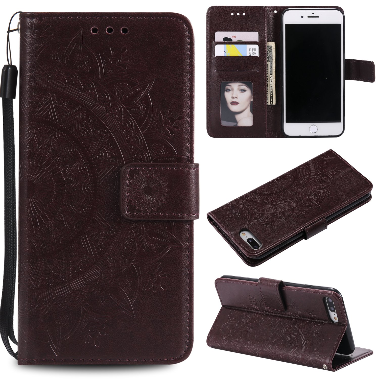 Floral Wallet Case for iPhone 7 Plus 5.5'',Strap Flip Case for iPhone 8 Plus 5.5'',Leecase Embossed Totem Flower Design Pu Leather Bookstyle Stand Flip Case for iPhone 7 Plus /8 Plus 5.5''-Brown