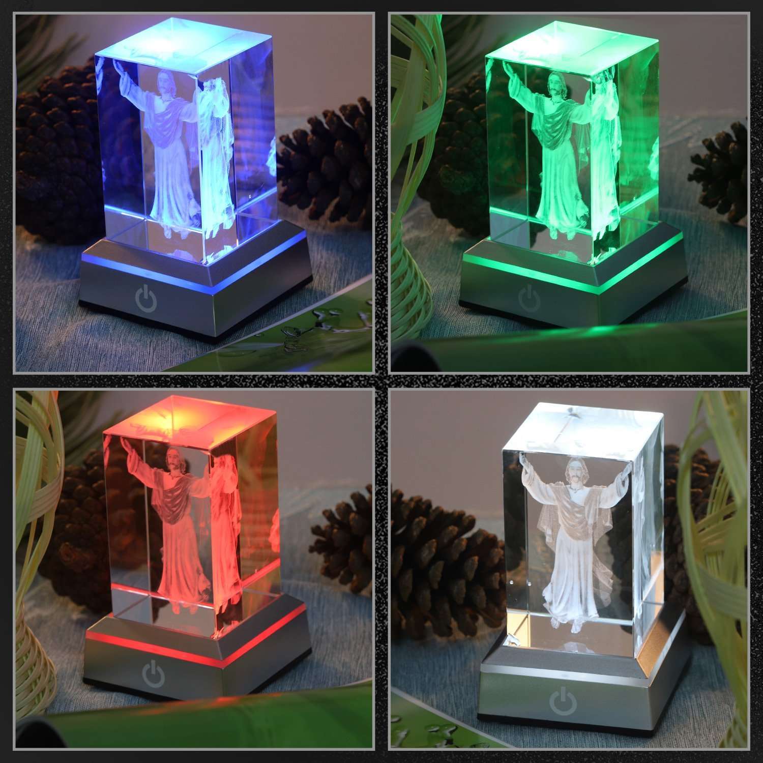 LED Light Base Show Stand Display Plate with Sensitive Touch Switch for 3D Laser Crystal Glass Art Erwei Guoji