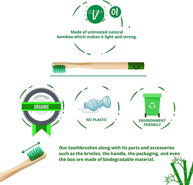 Vaireo Bamboo Eco Friendly Wooden Toothbrushes – Exclusive Design ...