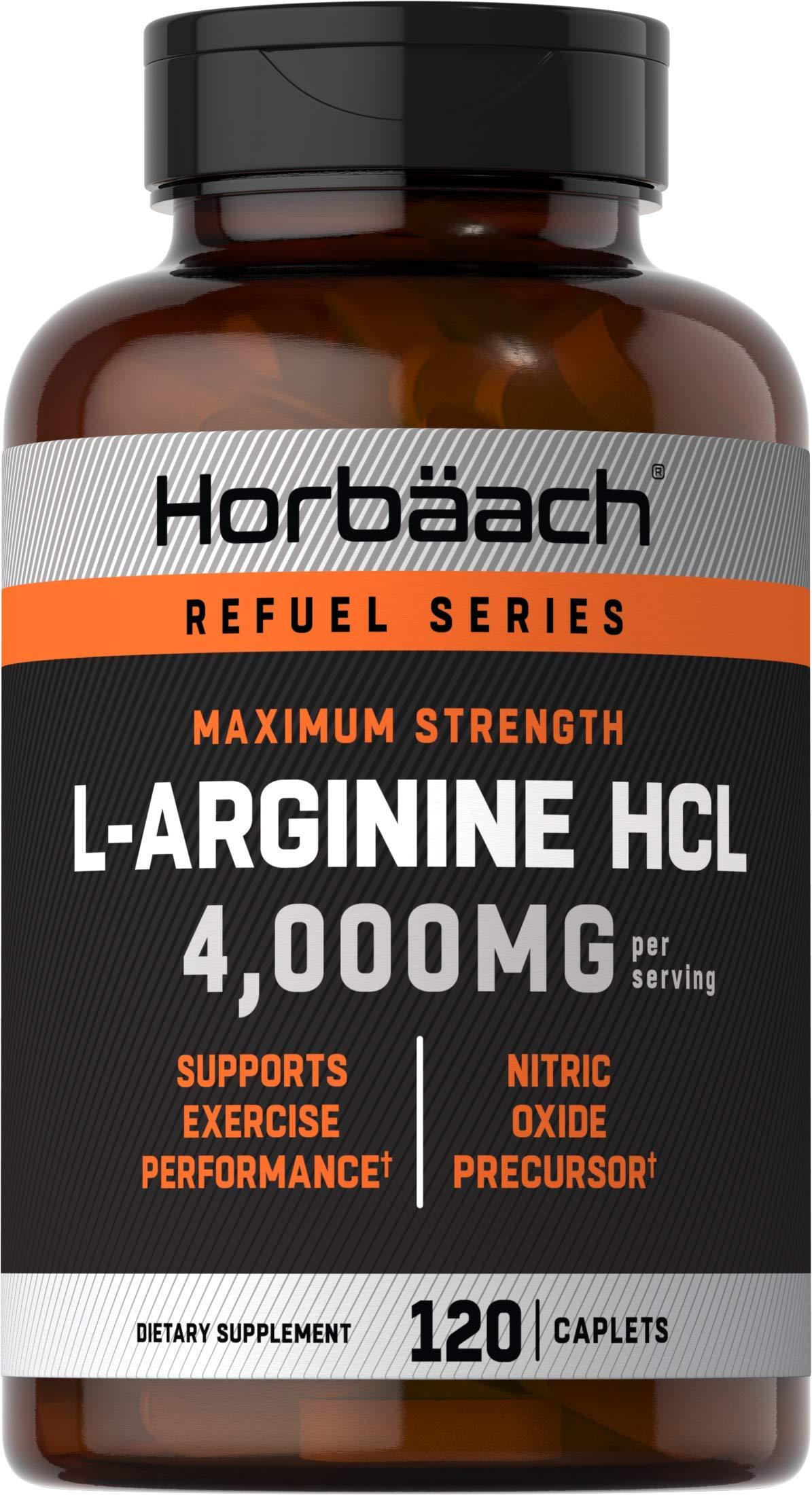 L Arginine 4000 mg | 120 Caplets | Maximum Strength Nitric Oxide Precursor | Vegetarian, Non-GMO, Gluten Free | L-Arginine Supplement | by Horbaach
