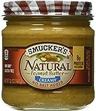 Smucker's Natural No Salt Added Creamy Peanut Butter, 12 Ounce Glass Jars