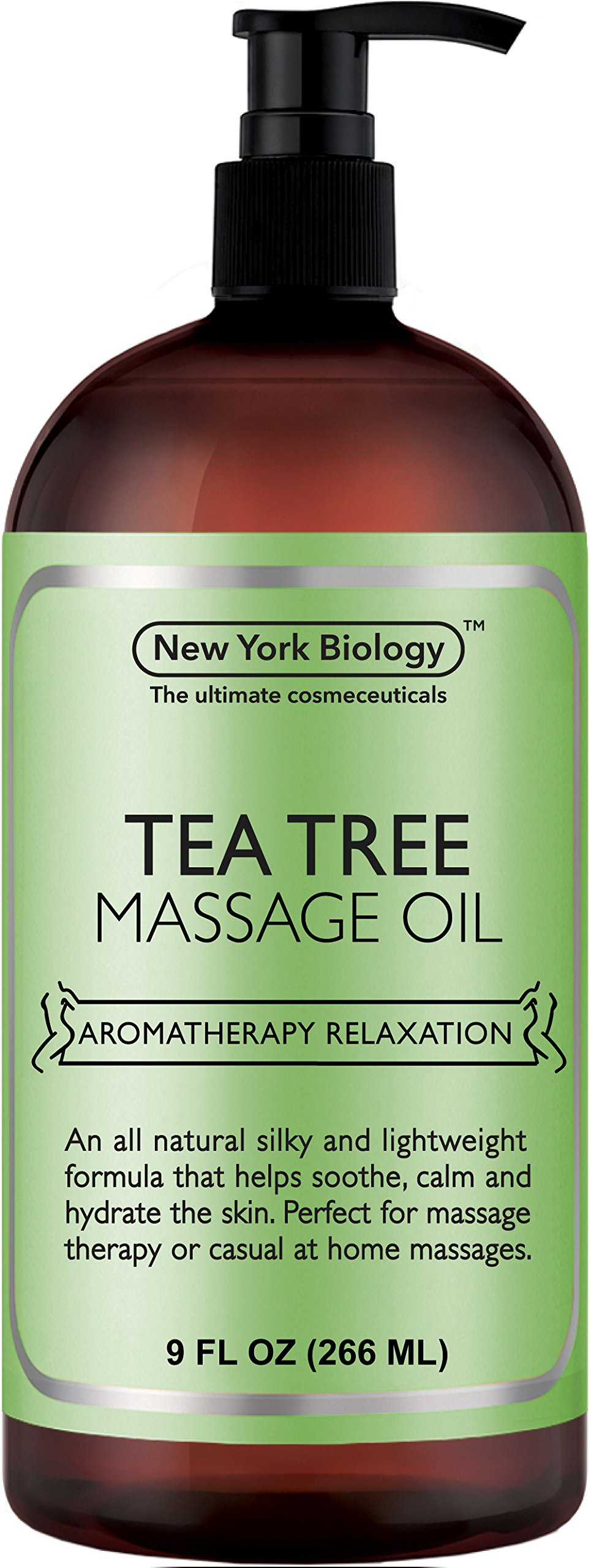 New York Biology Tea Tree Massage Oil - 100% All Natural Ingredients - Sensual Body Oil Made with Essential Oils for Muscle Relaxation and Deep Tissue - 9 oz by New York Biology