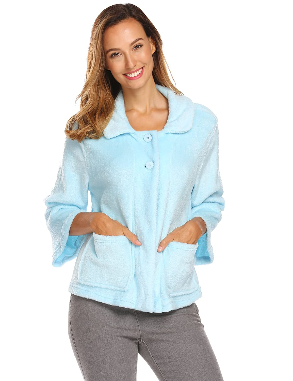 Ekouaer Bed Jacket Women's Sleeve Peter Pan-Collar Button Up Soft Flannel Sleepwear AMK007297