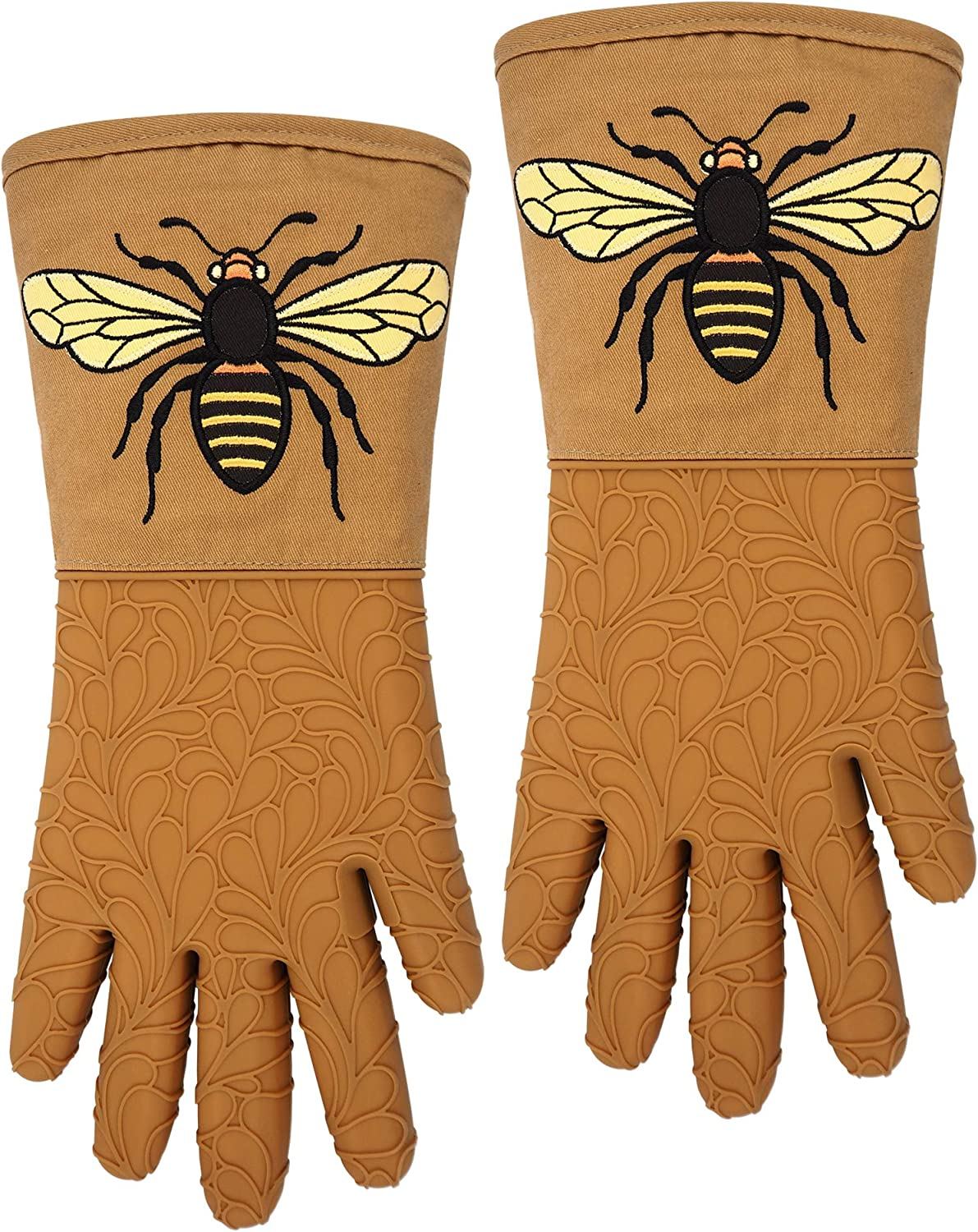 RED LMLDETA Silicone Oven Mitts Gloves 1 Pair Heat Resistant Extra Long 5 Fingers Flexible Non Slip Food Grade Mittens Kitchen Women Men Pot Holders Cooking Baking BBQ (Bee, Earth-Yellow)