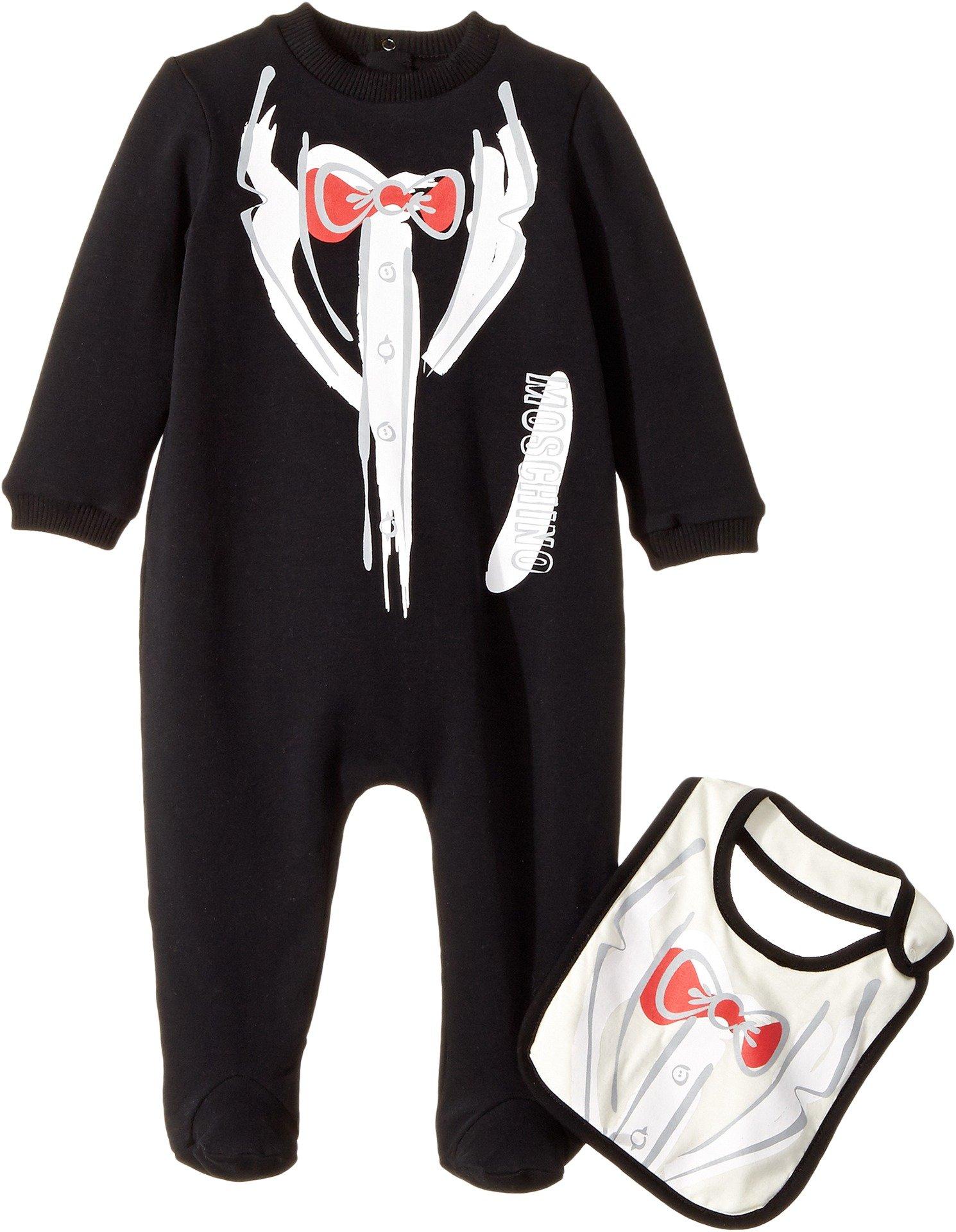 Moschino Kids  Baby Boy's Tuxedo Romper & Bib Gift Box Set (Infant) Black Clothing Set