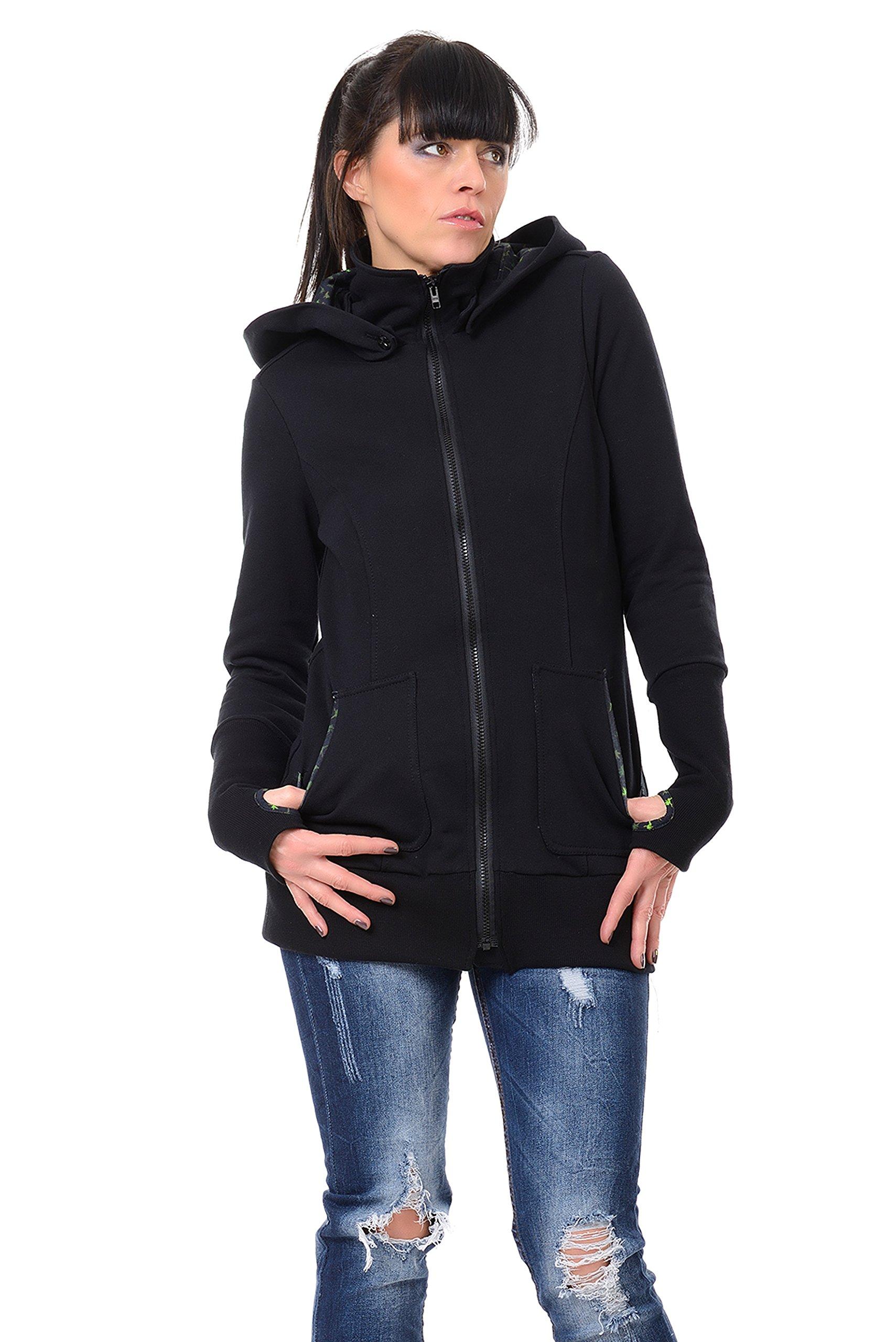 3Elfen sweat jacket ''Magic Hood'' black - Logo Fairy XXL