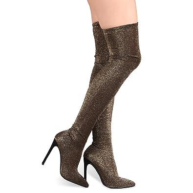 bcbe07012df4 Amazon.com | Liliana Thigh High Boots w/Stretchy Glitter Knit Pointy Toe  Stiletto Bootie Xaya11 (Gold 6) | Boots