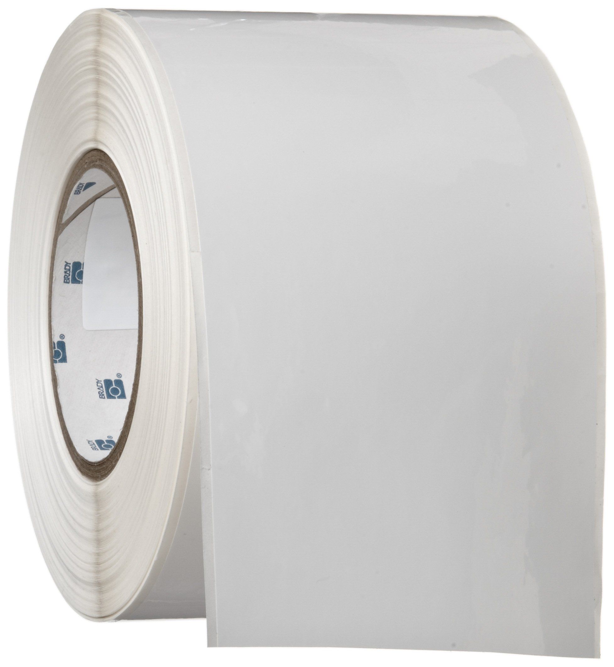 Brady THT-107-423 4'' Width x 300' Height, B-423 Permanent Polyester, Gloss Finish White Thermal Transfer Printable Label