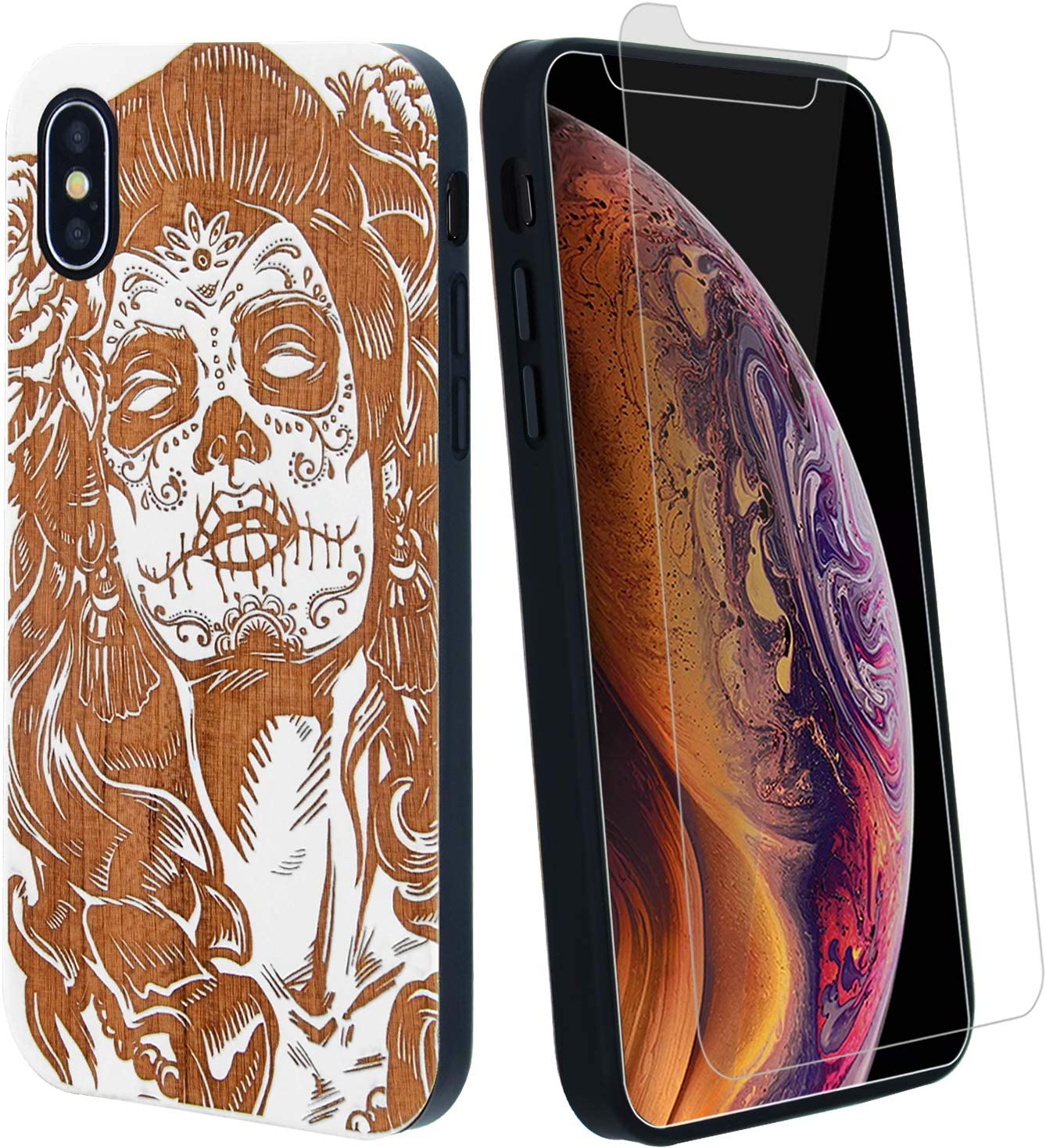 Sugar Skull Lady Girl Wood Phone Case Compatible with iPhone XR Including Strong Glass Screen Protector, Wireless Charging Compatible